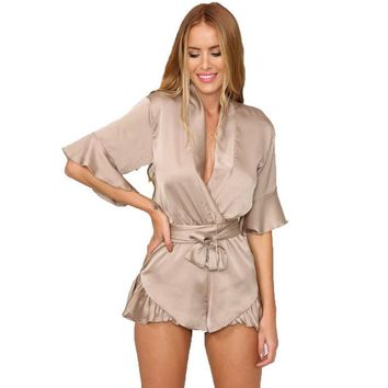 DCK9M2 GJ106 New Woman Relax Loose Fit Deep V Neck 3/4 Sleeve Silk Ruffled Romper Satin Playsuit Casual Jumpsuits S-XL Tan Peach Black