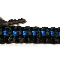 Thin Blue Line Police Officer Paracord Keychain