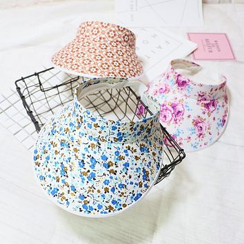 Summer Woman Fashion Trendy Floral Printed Adjustable Outdoor Beach Sun-Proof UV Protection Sunbonnet Topee Sunhat Baseball Cap
