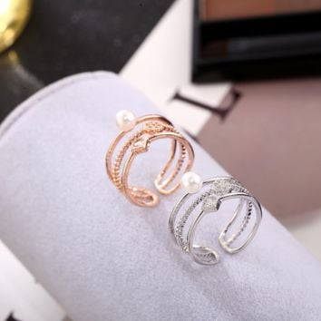 Three-layer pearl diamond ring multi-layer zircon micro-pearl personalized ring ring finger ring
