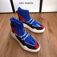 off white  Trending Men Women's Black Leather Side Zip Lace-up Ankle Boots Shoes High Boots