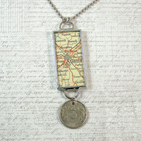 Atlanta Vintage Map and Coin Pendant Necklace