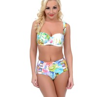 Blue Floral Major Mint Mid Rise Cut Out Swim Bottom