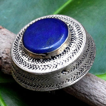 FREE SHIPPING Blue Lapis Stone Antique Ring,Afghan Kuchi Ring,Gypsy,Dome Tribal Ring,Lapis Jewelry,Hippie Bohemian Ring,Carved Ethnic Ring