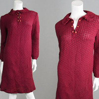 Vintage 60s Mod Dress Wool Shift Dress Knitted Dress Peter Pan Collar Crochet Dress 1960s Dress Cherry Red Knee Length Dress Sweater Dress