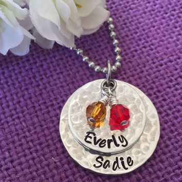 Mom Necklace - Mother's Day Gift - Stacked disc necklace - Mothers Necklace - Name necklace - Birthstone- Mom Jewelry - Gift for mom