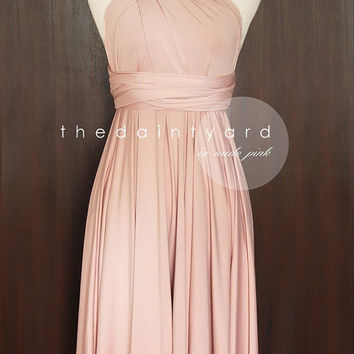 Nude Pink Bridesmaid Dress Convertible Dress Infinity Dress Multiway Dress Twist Wrap Dress Wedding Dress Cocktail Dress Evening Dress