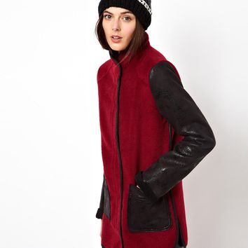 ASOS Popper Front Coat With Contrast Sleeve