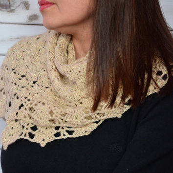 Crochet triangle shawl, Lace shawl, womens crochet wrap, beige scarf, crochet stole, womens winter accessories, shoulder wrap, neckwarmer