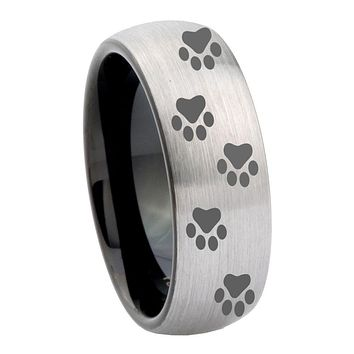 8mm Paw Print Design Dome Tungsten Carbide Silver Black Wedding Ring