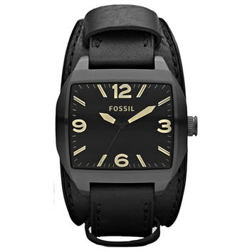 Fossil JR1386 Men's Roland Classic Black Dial Black Leather Strap Watch