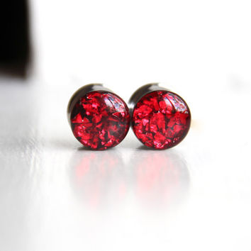 Red Glitter Ear Gauges, Sparkly Red Plugs, Blood Red Resin Gauges, Goth Plugs - sizes 0g, 00g, 7/16, 1/2, 9/16, 5/8, 3/4, 7/8, 1""