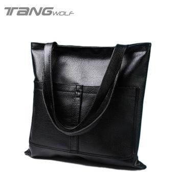 2016 New Women's Handbags High-Quality European And American Vintage Minimalist High-Capacity Tote Bag Pu Leather Shoulder Bags