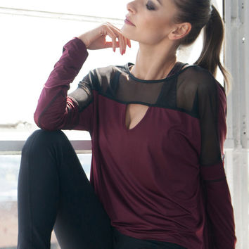 Oversize Long Sleeve Top | Open Back Knit Tops | Fall Fashion Tops | Burgandy Tops | High Low Hem Top | Tunics | Women's Fashion | T011