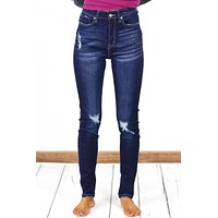 High Rise Whiskered + Distressed Skinny Jeans {Dk. Wash}