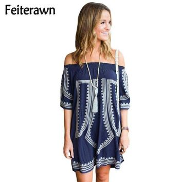 DKLW8 Feiterawn 2017 Women Sexy Cotton Pareo Geometric Print Half Sleeve Off The Shoulder Mini Beach Dress Cover Up Swimsuit DL42149