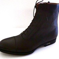 Gucci Mens Shangrai Brown Leather Boots Size Zip Up Made in Italy