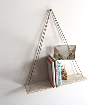 Handmade Hanging Pallet Shelf, Rustic, Beach Decor, Reclaimed Wood, Home Decor, Kitchen, Repurposed, Wood, Furniture, Book Shelf, White