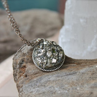 Fool's Gold Necklace - Raw Stone Jewelry - Crushed Pyrite Jewelry - Rough Stone Necklace - Wiccan Necklace - Gypsy Pendant - Boho Jewelry