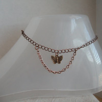 Gold Tiny Butterfly Anklet, Butterfly on Copper Chain, Small Copper Chain Below Butterfly,  Tiny Gold Butterfly