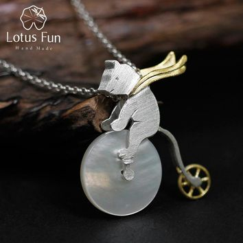 Lotus Fun Real 925 Sterling Silver Handmade Design Fine Jewelry Cute Bicycle Riding Bear Pendant without Necklace for Women