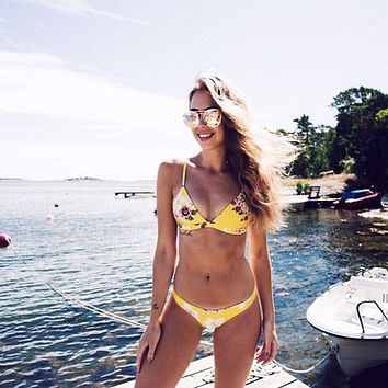 2017 Brand Swimwear Yellow Floral Printing Sexy Bikini Set Biquini Triangle Swimsuit Flower Bathing Suit Beachwear