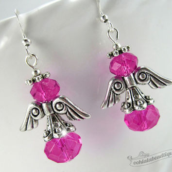 Pink angel earrings, crystal dangels, First communion gift, fuchsia crystal earrings, Christian Jewelry Catholic earrings, confirmation gift