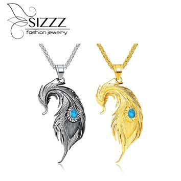 SIZZZ Europe and the United States feather necklace hip hop necklace titanium steel men's pendant