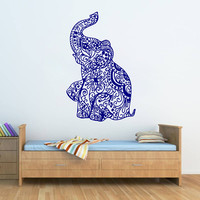 kik270 Wall Decal Sticker Room Decor Wall little Indian elephant floral ornament india pet animal living room bedroom