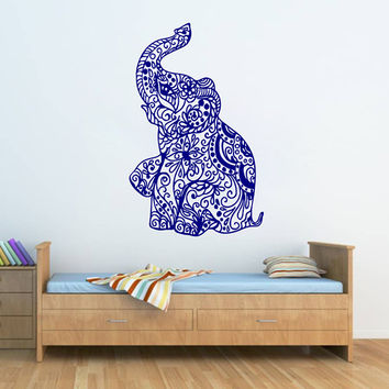 Kik270 Wall Decal Sticker Room Decor Little Indian Elephant