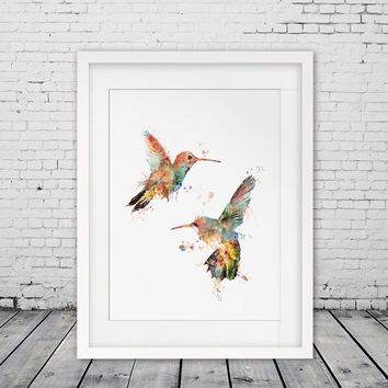 Valentines Hummingbird Poster Wall Art Painting Print Design Couples Birds Wall Hanging Gift for Her for Him No Frame
