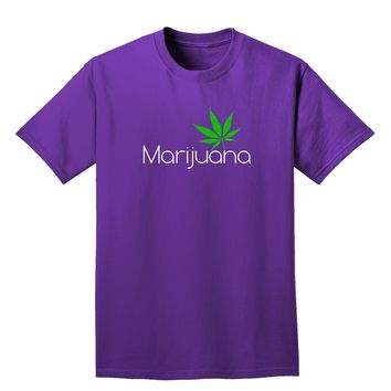 Marijuana Text and Leaf Adult Dark T-Shirt