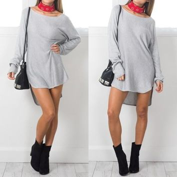 Streetstyle  Casual Grey Plain Irregular Round Neck Long Sleeve Mini Dress