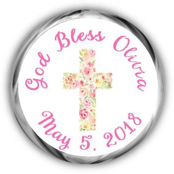 Floral Cross First Communion Kisses Stickers
