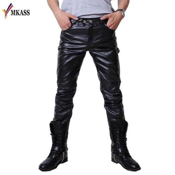 New Sale Mens Leather Pants Faux Leather Pu Material 3 Colors Motorcycle Skinny Faux Leather Pants
