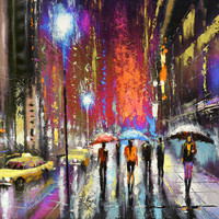 Rainy night 3 - OIL PALETTE KNIFE Painting on canvas by Dmitry Spiros. 36x28 in. (90 x 70 cm)