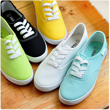 Sneakers canvas breathable women solid color flat