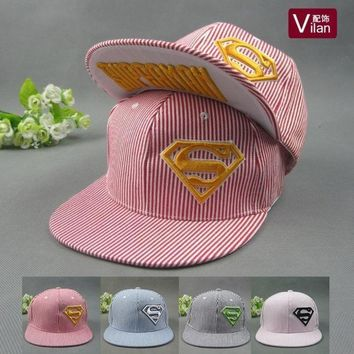 Cotton Embroidered Superman Stereo Flat Along The Baseball Summer Men And Women In Hip Hop Cap Visor Hat = 1946381380
