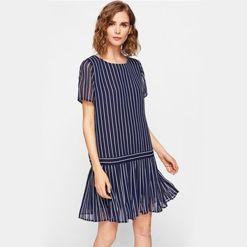Pleated Hem Mixed Stripe Drop Waist Dress Round