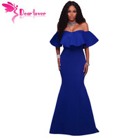 Dear-Lover mermaid dress Off Shoulder Sexy Formal Gowns Royal Blue Ruffle Ponti Maxi Party Dress Vestido De Festa Longo LC61525