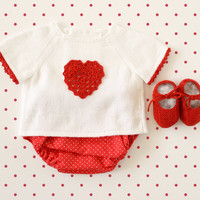 Knitted baby sweater, diaper cover and shoes. White and red. Crochet heart. 100% cotton. READY TO SHIP size newborn
