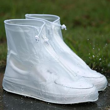 Men's Women's Unisex PVC Waterproof Zippered Boots Shoes Rain Protector Covers
