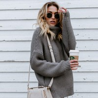 Women Fashion Casual Solid Color Turtleneck knit Long SleeveSweater