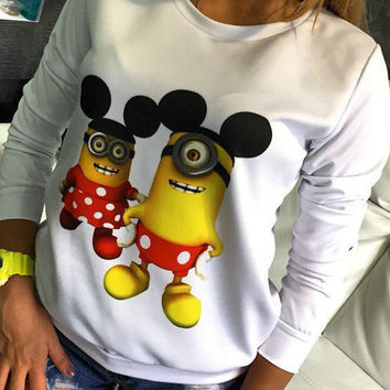Two Minions Printed Thin Sweatshirt