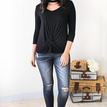 Steady Look Knot Hem Top in Black