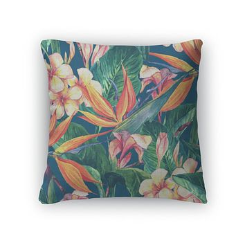 Throw Pillow, Tropical Pattern With Exotic Flowers