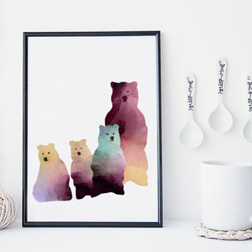 Bear family watercolor art print, nursery wall decor, nursery art, baby's room decor, bear print, animal art print, poster, cute, simple