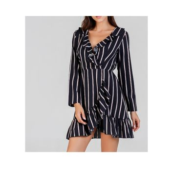 Blue Striped Long Sleeve Fit and Flare Ruffle Wrap Dress