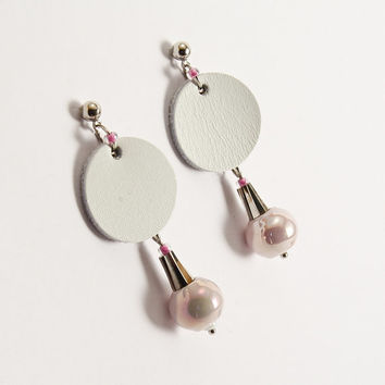 Geometric leather earring with pale pink ceramic bead, nickel free