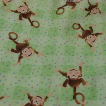 Monkey Plaid Baby Blanket  Car Seat Cozy Plaid Monkey Flannel Fabric